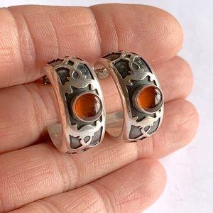 Lori Bonn Sterling Silver Amber Hoop Earrings